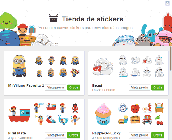 stickers market facebook 2013